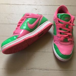 Green And Pink Nike Air Shoes